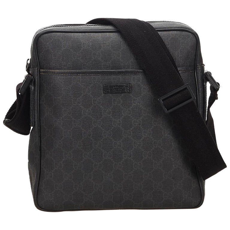 1133aaff3704 Gucci Black Guccissima Supreme Coated Canvas Crossbody Bag at 1stdibs