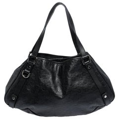 Gucci Black Horsebit Embossed Leather Abbey Tote