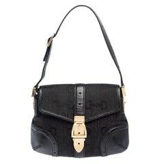 Gucci Black Horsebit Print Canvas And Leather Buckle Flap Bag