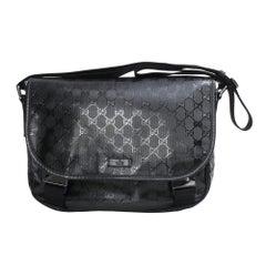 Gucci Black Imprime Monogram Flap Medium Messenger Bag (201732)