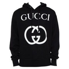 Gucci Black Interlocking G Print Cotton Hooded Sweatshirt S