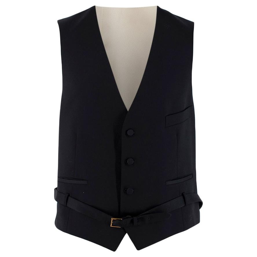 Gucci Black/Ivory Wool Belted Waistcoat - Size 52R