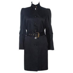 Gucci Black Jacquard Cotton Blend Belted Trench Coat M