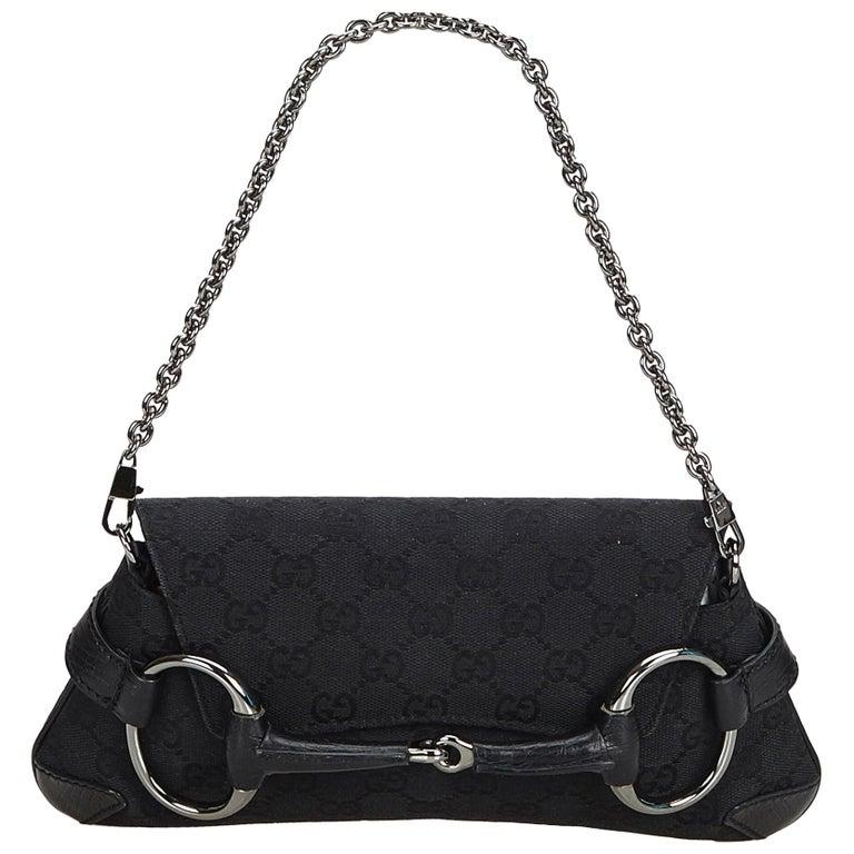 242b9c087d4e Gucci Black Jacquard Fabric Horsebit Chain Baguette Italy w/ Dust Bag For  Sale