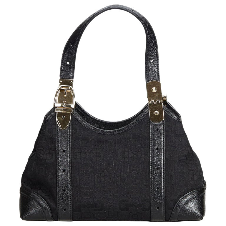 6e7b01bb Gucci Black Jacquard Fabric Horsebit Handbag Italy w/ Dust Bag