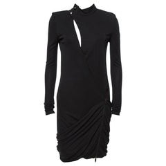 Gucci Black Jersey Cutout Detail Draped Dress M