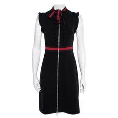 Gucci Black Jersey Trim Detail Ruffled Midi Dress M