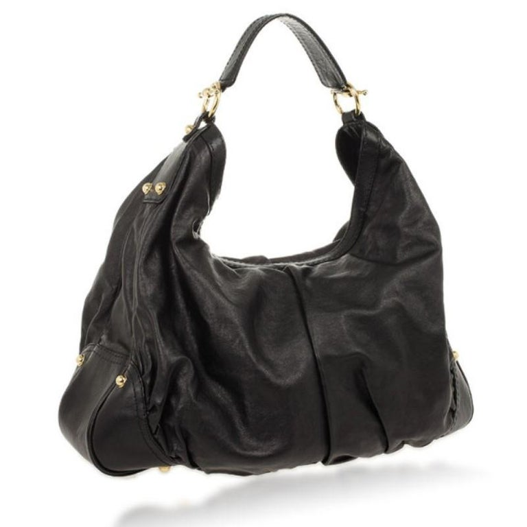 Gucci Black Jockey Large Hobo In Excellent Condition For Sale In Dubai, AE