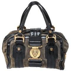 Gucci Black/Khaki Green Suede and Patent Leather Aviatrix Boston Bag