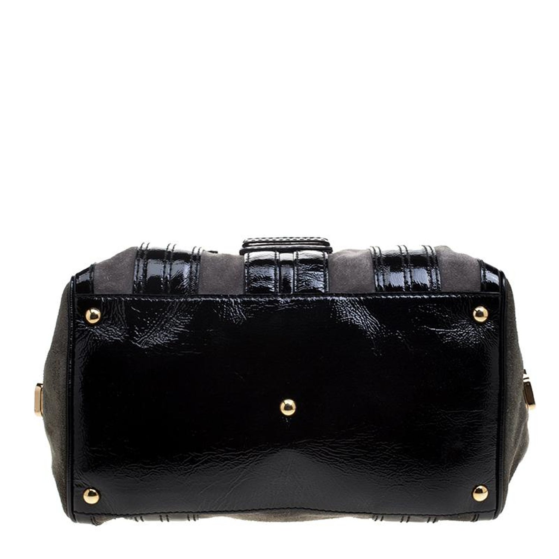 b6283963e9e Gucci Black Khaki Patent Leather and Suede Aviatrix Boston Bag For Sale at  1stdibs