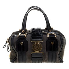 Gucci Black/Khaki Patent Leather and Suede Aviatrix Boston Bag