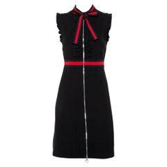 Gucci Black Knit Stripe Trim Detail Ruffled Zipper Front Mini Dress M