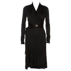Gucci Black Knit Wrapped Tie Detail Midi Dress S