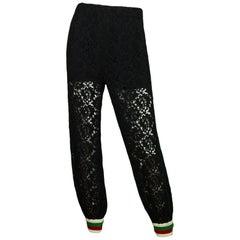 Gucci Black Lace Jogger Pants w/ Web Trim NWT sz IT 36 rt. $1,980