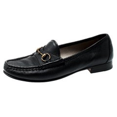 Gucci Black Leather 1953 Horsebit Loafers Size 37
