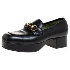 Gucci Black Leather 1953 Horsebit Platform Loafers Size 37.5