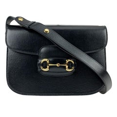 Gucci Black Leather 1955 Horsebit Box Shoulder Bag