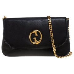 Gucci Black Leather 1973 Bucharest Exclusive Chain Shoulder Bag