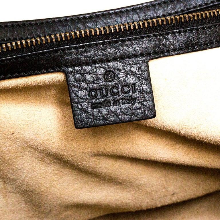 Gucci Black Leather 1973 Buckle Flap Satchel For Sale 6