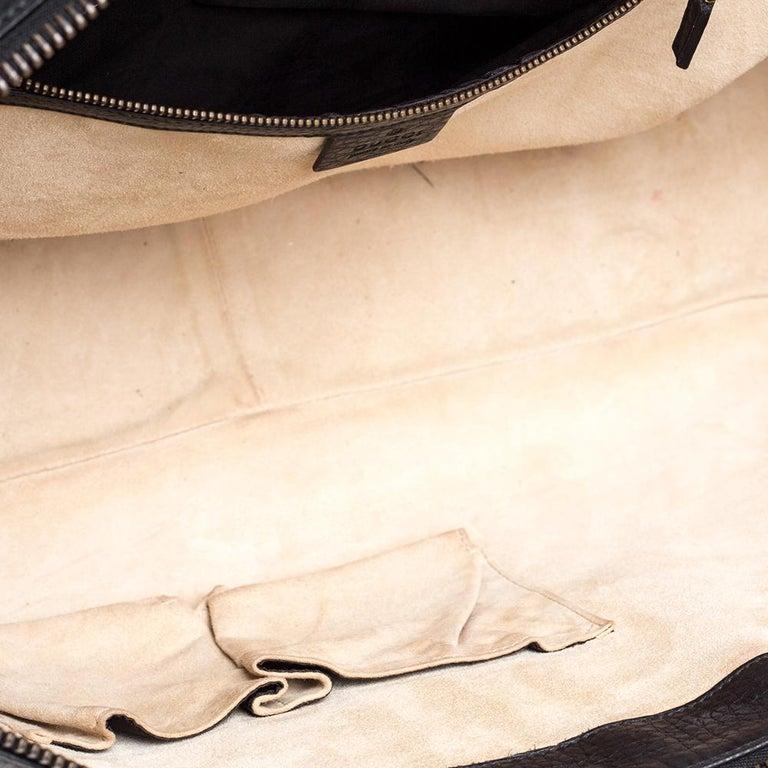 Gucci Black Leather 1973 Buckle Flap Satchel For Sale 7