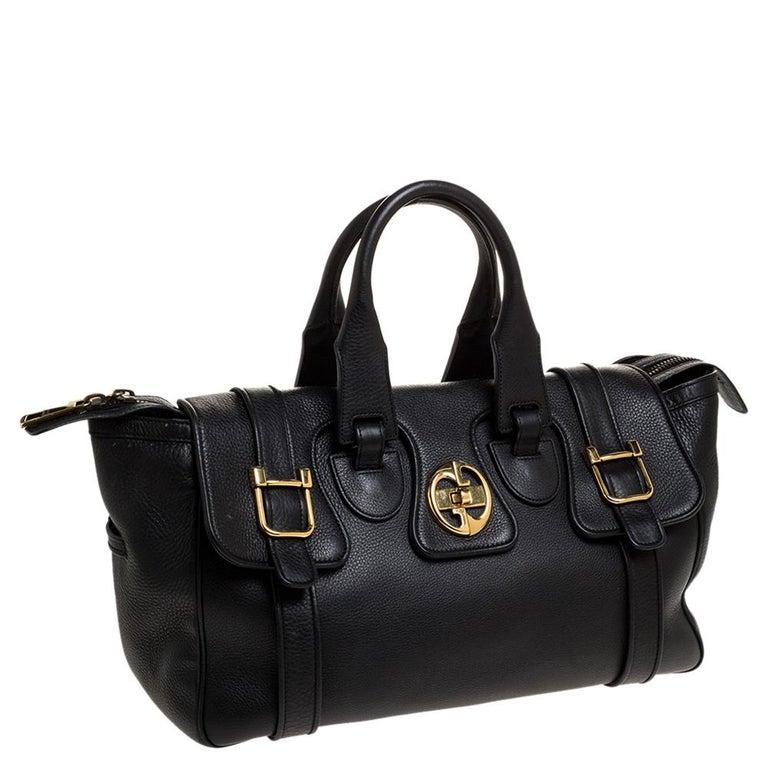 Women's Gucci Black Leather 1973 Buckle Flap Satchel For Sale