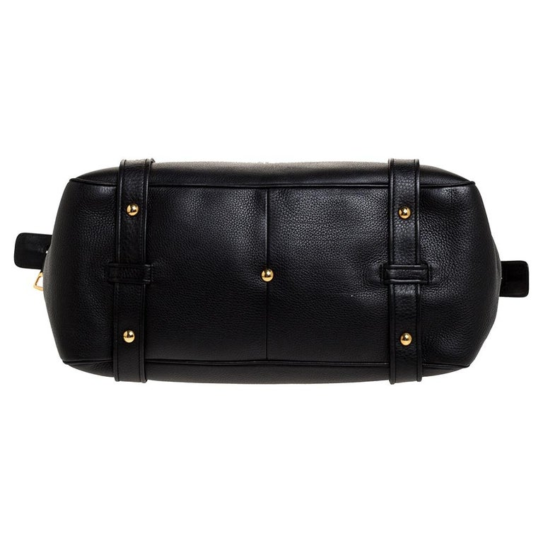 Gucci Black Leather 1973 Buckle Flap Satchel For Sale 1