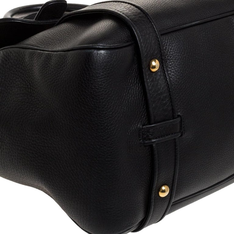 Gucci Black Leather 1973 Buckle Flap Satchel For Sale 2