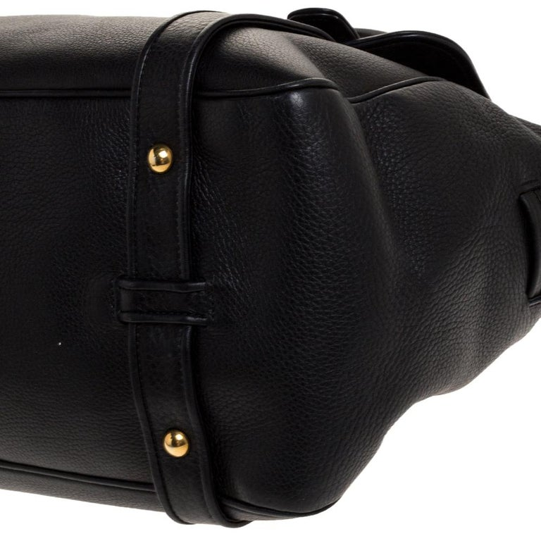 Gucci Black Leather 1973 Buckle Flap Satchel For Sale 3