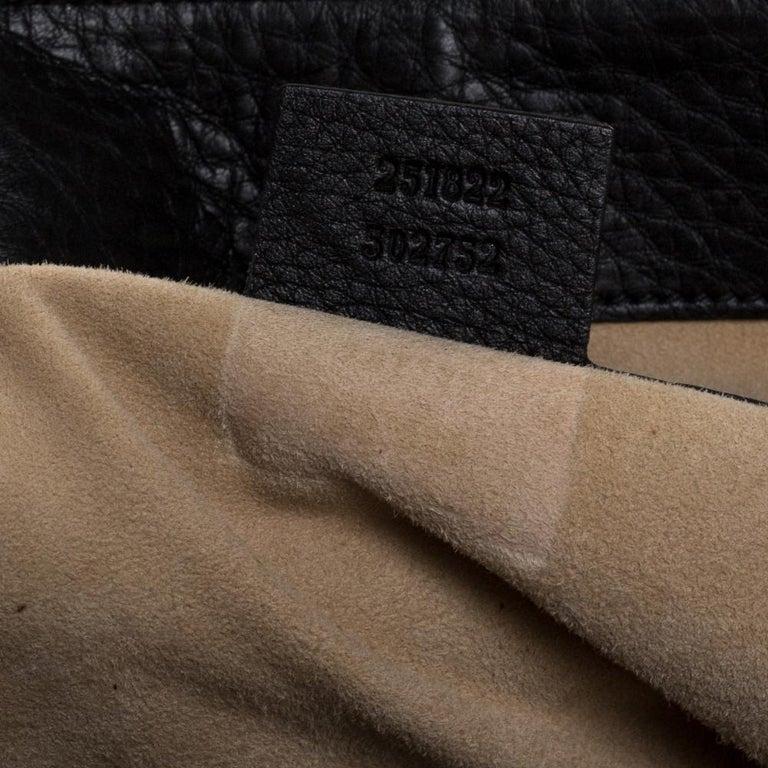 Gucci Black Leather 1973 Buckle Flap Satchel For Sale 4