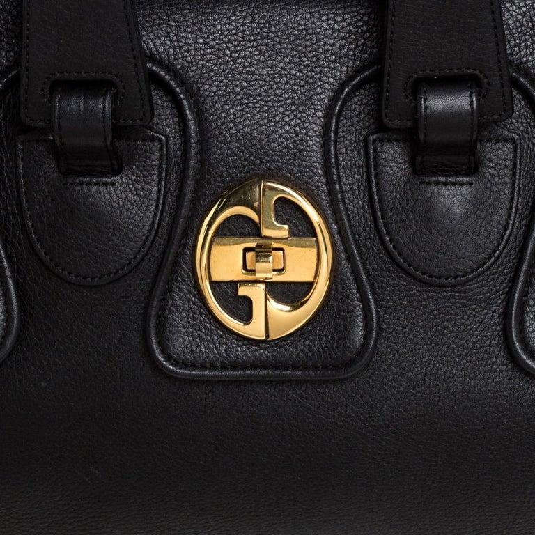 Gucci Black Leather 1973 Buckle Flap Satchel For Sale 5