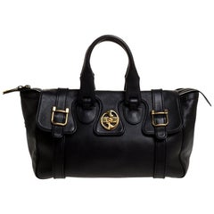 Gucci Black Leather 1973 Buckle Flap Satchel