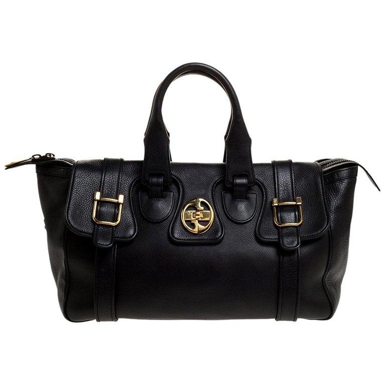 Gucci Black Leather 1973 Buckle Flap Satchel For Sale