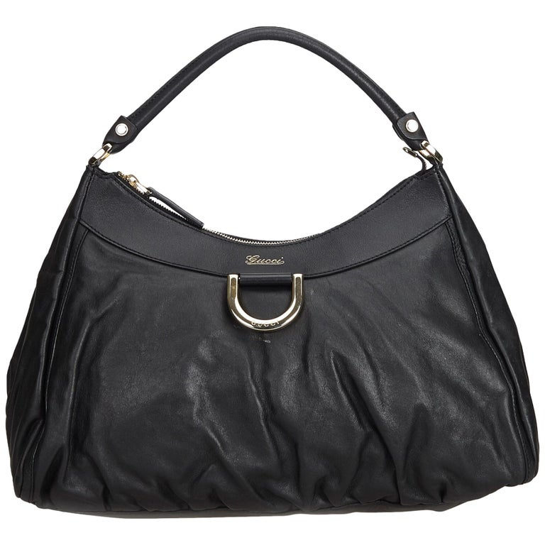 9aa615401c2 Gucci Black Leather Abbey D-Ring Hobo Bag at 1stdibs
