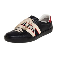 Gucci Black Leather Ace Stripe Low Top Sneakers Size 42