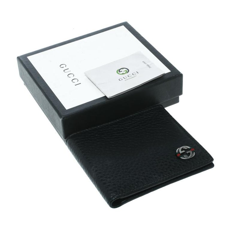 fe6e3c39ad3a Gucci Black Leather Ace Web Interlocking GG Bifold Wallet For Sale ...