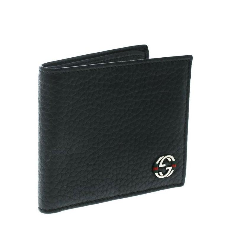 8993323e8faa Gucci Black Leather Ace Web Interlocking GG Bifold Wallet In New Condition For  Sale In Dubai