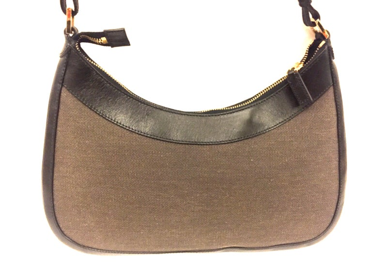 Black Gucci black leather and brown canvas hobo style bag