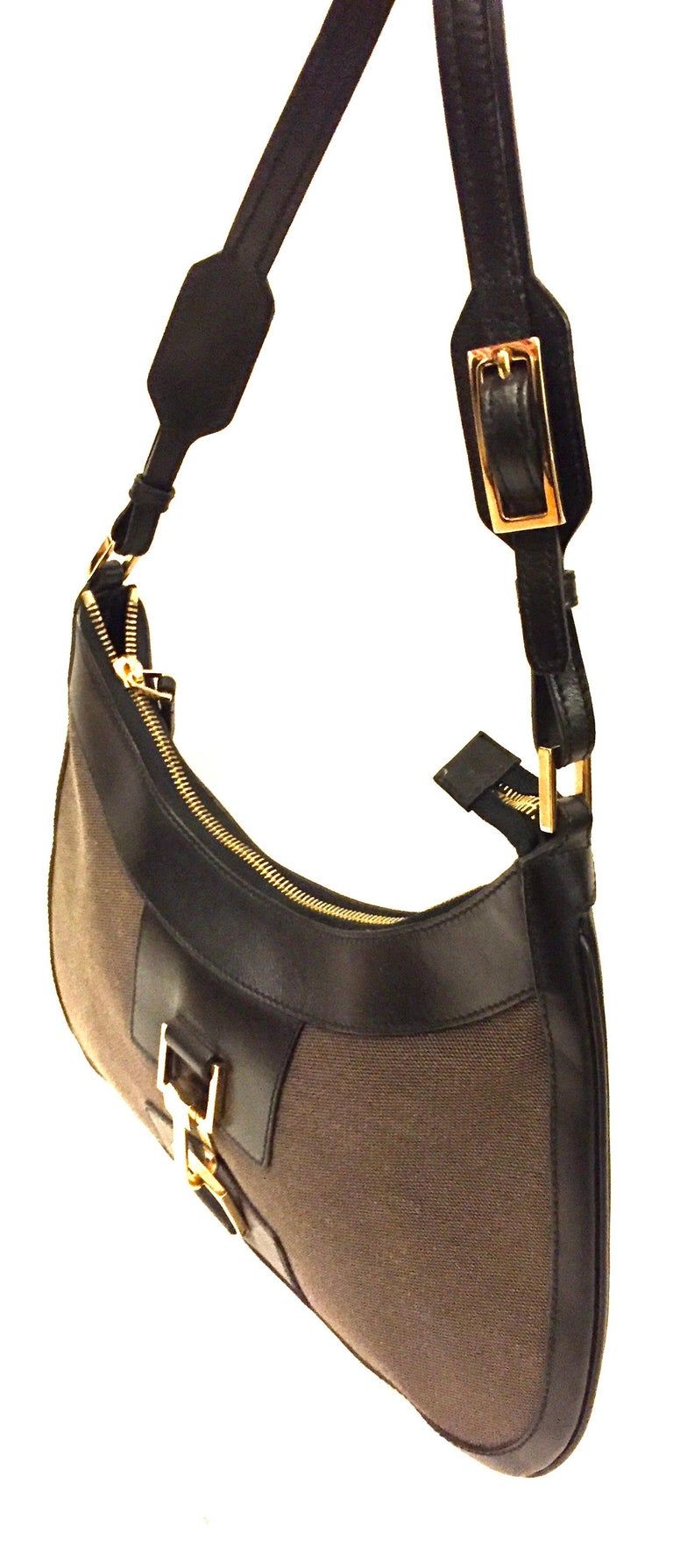 Gucci black leather and brown canvas hobo style bag 1