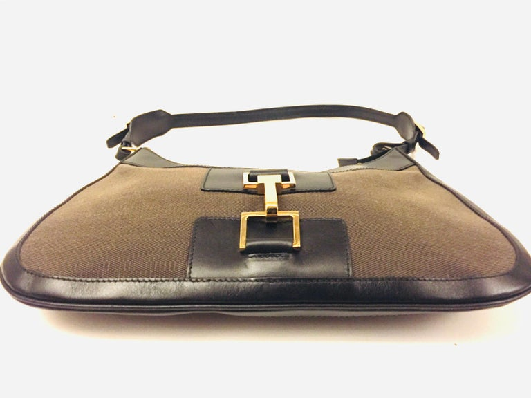 Gucci black leather and brown canvas hobo style bag 2