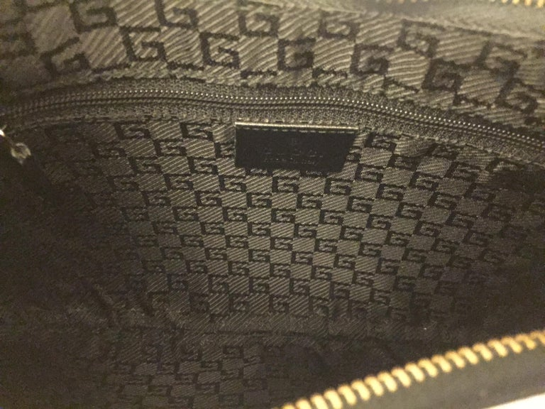 Gucci black leather and brown canvas hobo style bag 3