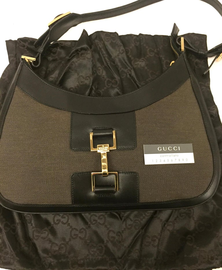 Gucci black leather and brown canvas hobo style bag 4