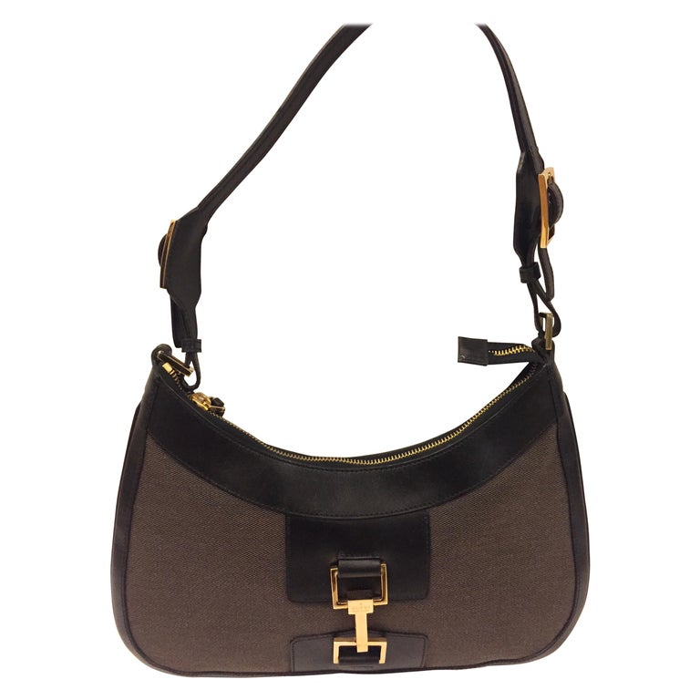 Gucci black leather and brown canvas hobo style bag