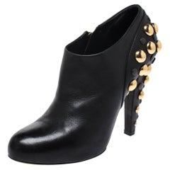 Gucci Black Leather Babouska Stud Embellished Ankle Booties Size 38