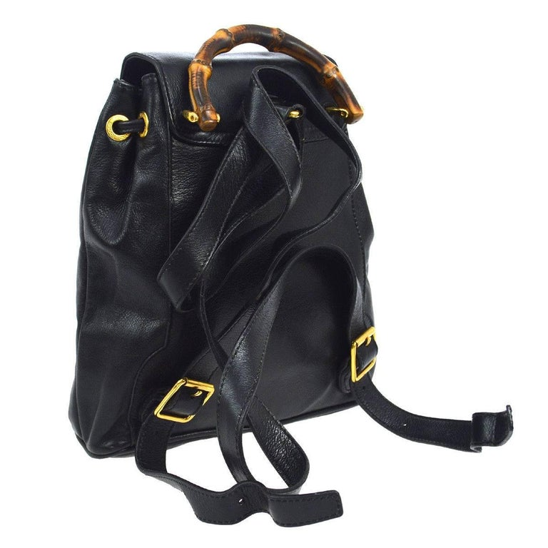 a2c0d1eb3ad91c Gucci Black Leather Bamboo Men's Women's 2 in 1 Top Handle Satchel Shoulder  Backpack Bag Leather