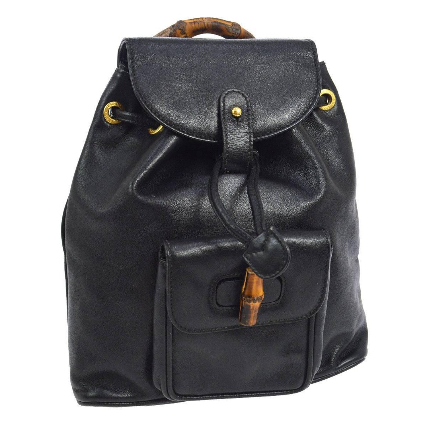 d794411a6c9b Gucci Black Leather Bamboo 2 in 1 Top Handle Satchel Shoulder Backpack Bag  For Sale at 1stdibs