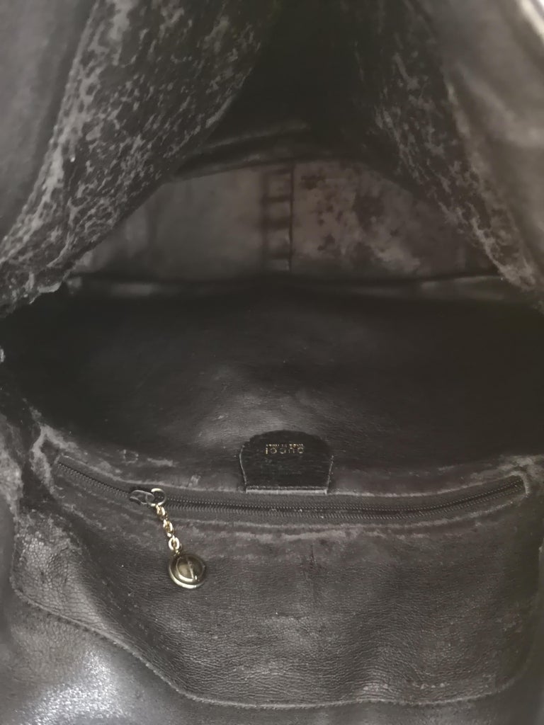 Gucci Black Leather Bamboo bag For Sale 8