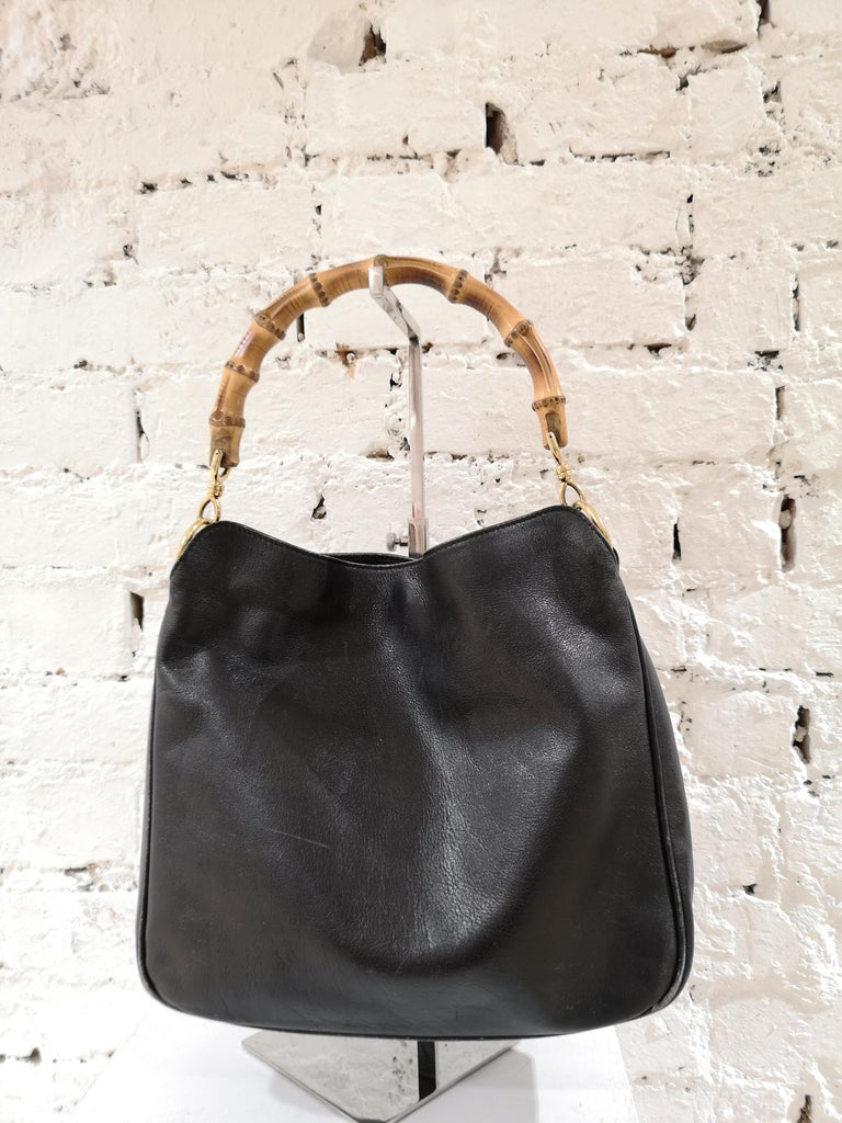 Gucci Black Leather Bamboo bag black lamb skin leather bamboo handle bag totally made in italy
