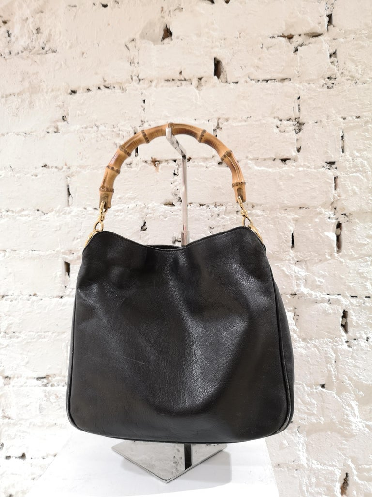 Gucci Black Leather Bamboo bag In Fair Condition For Sale In Capri, IT