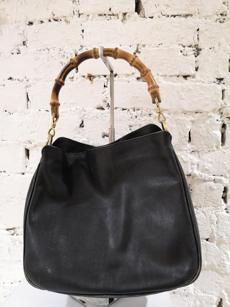 Gucci Black Leather Bamboo bag For Sale 2
