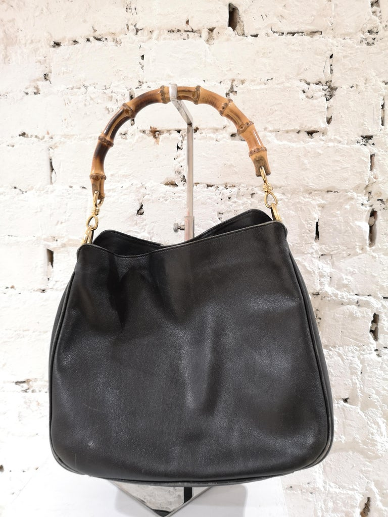 Gucci Black Leather Bamboo bag For Sale 3
